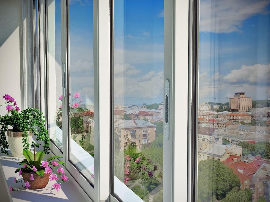 Остекление балкона пластиковыми окнами раздвижными.