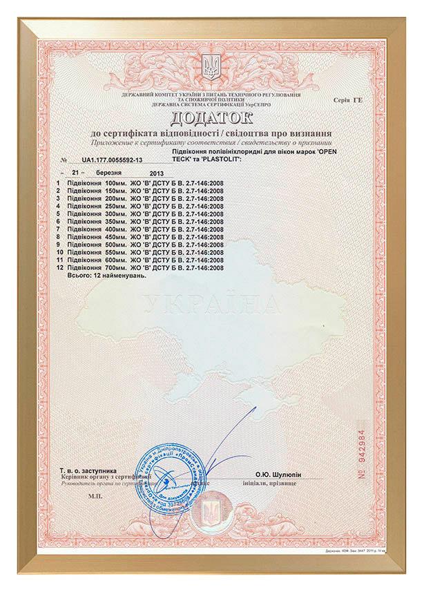 Сертифікат відповідності на підвіконня