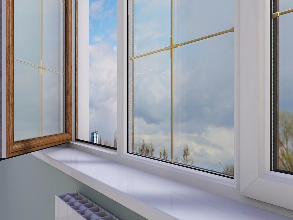 Балконные окна коричневого цвета.