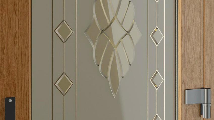 Фацеты - декоративные кристаллы на матовом стекле крупный план