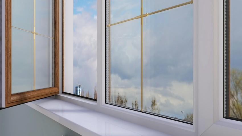 Шпросы - декоративные металлические вставки между стекол, вид изнутри помещения